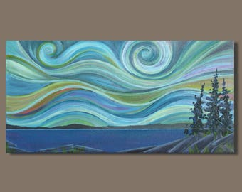 abstract painting, northern lights, abstract landscape painting, blue, impressionist landscape, small art, panoramic painting, gift for her