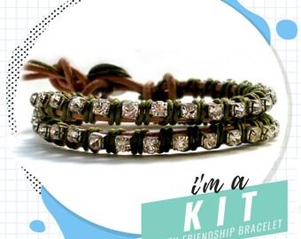 friendship bracelet kit, rhinestone leather wrap bracelet kit, DIY jewelry kit, DIY bracelet kit, army green bracelet, crystal bracelet kit