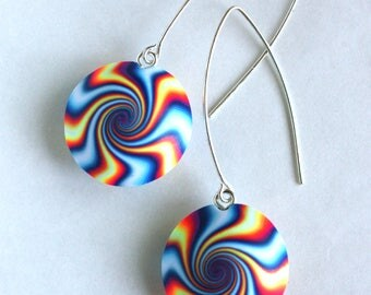 Polymer clay earrings, Striped Vortex, 925 Sterling Silver hook, Blue, Yellow, White and Orange.