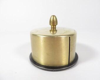 Vintage Brass Stamp Holder - Brass Desk Stamp Holder