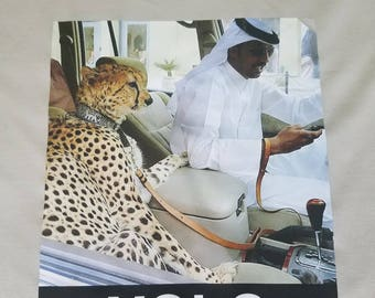 YOLO, one of a kind, Mens YOLO Large controversial, DUBAI,leopard, cheetah driving sheikh, beige, short sleeve shirt