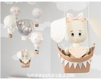 Bunny Baby Mobile, Hot Air Balloon Mobile, Ivory, Gray and Blush Pink, Nursery Mobile, i260