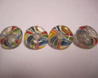 4 Vintage Round Glass Rainbow Buttons Donut Shape