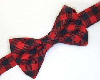 Red & Black Plaid Bow tie, buffalo check bow tie, red plaid bow tie, Christmas bow tie, men's red bow tie, boy's red bow tie, buffalo check