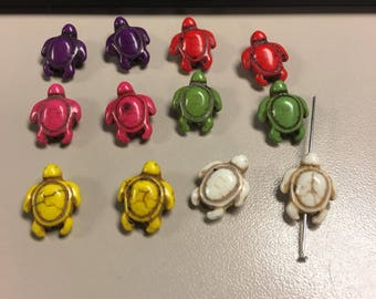Imitation howlite turtle beads