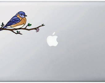 """CLR:MB - Eastern Bluebird - Bird - Stained Glass Style Vinyl Macbook Laptop Decal (Opaque) ©YYDC (6.5""""w x 3""""h)"""