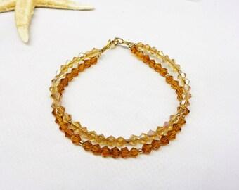 Gold Topaz Bracelet Gold Crystal Bracelet Crystal Double Strand Bracelet 14k Gold Filled Bracelet Brown Crystal BuyAny3+Get1Free