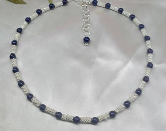Jackie Kennedy Inspired Necklace Lapis Necklace Blue Lapis Lazuli Necklace Adjustable Necklace 925 Sterling Silver Or Plate BuyAny3+Get1Free