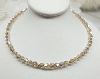14kt Gold Champagne Crystal Necklace Solid 14kt Gold Crystal Champagne Necklace Adjustable Necklace BuyAny3+Get1 Free