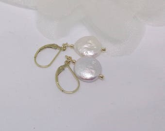 Coin Pearl Earrings 14k Gold White Pearl Earrings Cultured Pearl Earrings 14k Gold Pearl Earrings BuyAny+Get1 Free