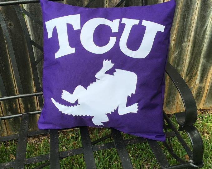 Purple Outdoor TCU Horned Frog Pillow 20x20 Pillow Cover with White Applique Frog and Lettering outdoor Decor