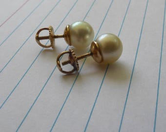 Antique 14k pearl stud earrings with threaded posts and screw on backs