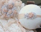 Ready to ship, newborn photography prop, apricot peach silk tieback, baby girl photo prop,newborn photography holiday
