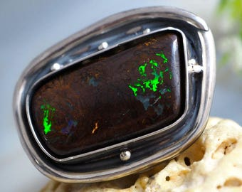 Statement Ring Australian Boulder Opal Ring Sterling Silver Jewelry