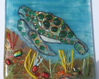 Sea Turtle wall hanging tile.  Hand Painted Textured Turtle. Fused Glass  SRAJD, GBUK, fhf