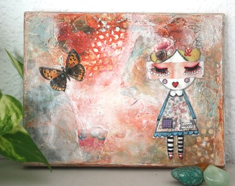 Dreamy girl and butterfly original mixed media art collage, butterfly wall art.