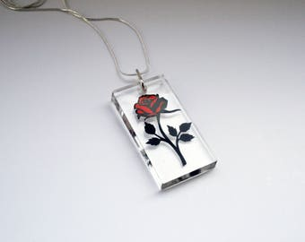 Beauty and the Beast Rose Resin Papercut Pendant • Fairytale Necklace • Paper Cut Jewellery