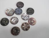 Pearl Shell Carved Buttons, MOP Buttons, Carved Buttons, Vintage Buttons