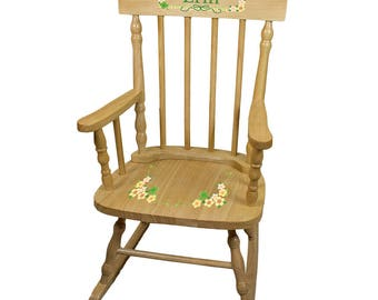 Personalized Natural Childrens Rocking Chair with Shamrock Design-spin-nat-344