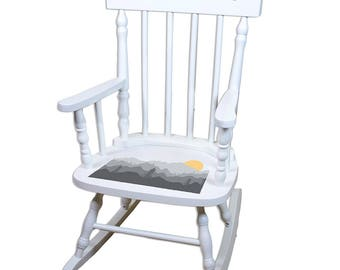 Personalized White Childrens Rocking Chair with Misty Mountain Design-spin-whi-245