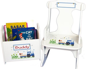 Personalized Puzzle Rocker and Book Caddy set with Blue Tractor Design-rknrd-211c