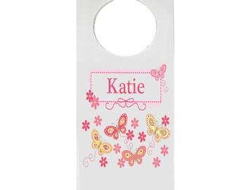Personalized Door Hanger with Yellow Butterflies Design-hang-300d