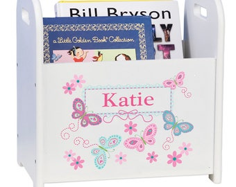 Personalized Book Caddy and Storage with Aqua Butterflies Design-cadd-whi-300c