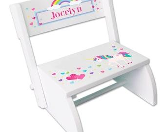 Girls Personalized Unicorn Step Stool Childrens White Folding Stepstool Rainbows My Pony Unicorns Rainbow Stools Fantasy Theme stoo-whi-316