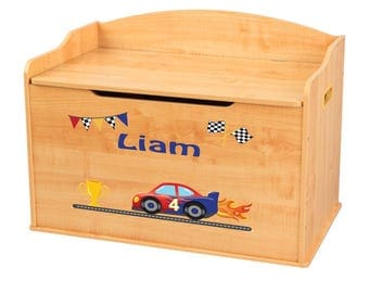 Personalized Race Cars Natural Toy Box Bench