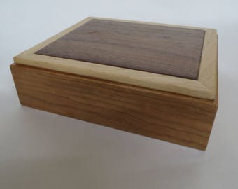 Small Wooden Box From Cherry, Walnut and Maple