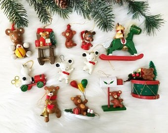 Teddy Bear Wooden Ornaments / Kitschy Toy Ornaments / Children's Ornaments / Kitschy Christmas / Vintage Lot of 12