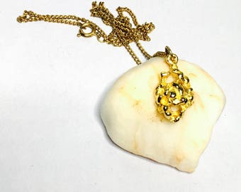 Vintage Flower Pendant/Necklace, Solid Gold tone, Clearance SALE, Item No. B334