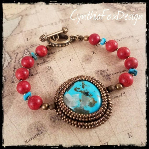 Real Natural Turquoise and Red Coral Beaded Bracelet, Natural Turquoise Jewelry