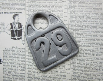 Vintage Number 29 Tag Large Aluminum Cow Tag Lucky Number Antique #29 Cattle Tag Industrial Farm House Number Apartment Jewelry Keychain