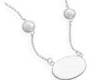 Fancy Engravable 16 inch ID Tag Necklace with White Cultured Freshwater Pearls - 925 Sterling Silver