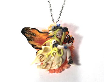 Fairy Pixie Peter Pan Butterfly Autumn Jewelry Necklace