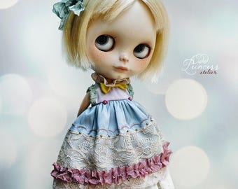 MIDNIGHT TALES Collection, Lilac-Blue Silk Blythe/Pullip/Imda2.6 Dress By Odd Princess, Vintage Collection