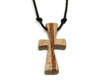 Cross Necklace Men, Mens Cross Jewelry, Minimalist Cross Necklace, Mens Cross Necklace Pendant, Curly Maple & Lacewood, Handmade Cross