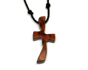 Mens Wooden Cross Necklace, Mens Jewelry Cross, Minimalist Cross Necklace, Snakewood Cross, Cross Necklace Men, South American Snakewood