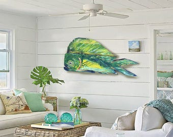 Driftwood Beach Décor Color Dolphinfish 2d sculpture by SEASTYLE