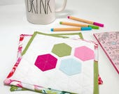 Quilted Mug Rug Colorful Coasters Spring Placemat Fabric Coasters Snack Mat Large Coasters Gifts Under 20 Valentines Day Gift