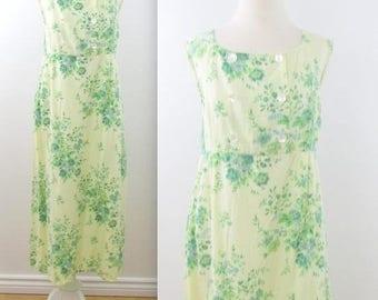 SALE April Cornell Pinafore Dress - Vintage 1990s Spring Floral Famrhouse Dress in Large xLarge