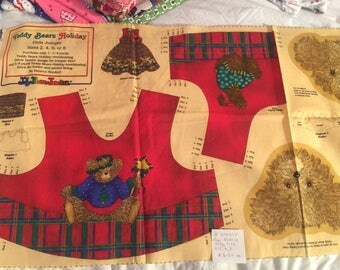 Bear Bodice Panels, Teddy Bears Holiday, size 2-4-6-8