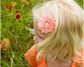 Peach Bow, Peach Hair Bow, Peach Flower Bow, Girls Hair Bow, Toddler Bow, Flower Girl Barrette, Peach Baby Barrette, Peach Baby Headband