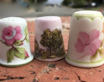 "Vintage 80's   ""PORCELAIN THIMBLE""  Set of 3 - France, Czechoslovakia & USA"