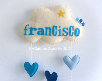 Customized Baby Mobile - Cloud and Hearts