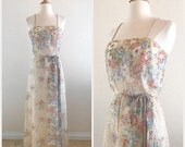 SHOP SALE Vintage Boho Floral Maxi - 1970s Christos for Bridal Couture Bohemian 70s Wild Flower Print Sleeveless Flowy Dress Size Small