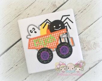 Boys Halloween shirt- Halloween dump truck shirt - personalized Halloween shirt for boys - 1st Halloween shirt - ghost and spider truck