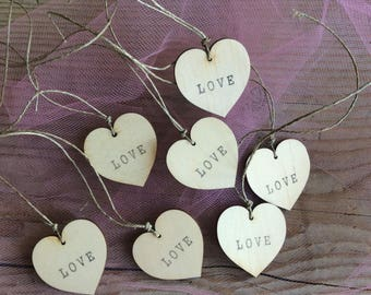 Wooden tags / set of 100 / heart tags / love tags / wedding tags / small plywood tags / party favors