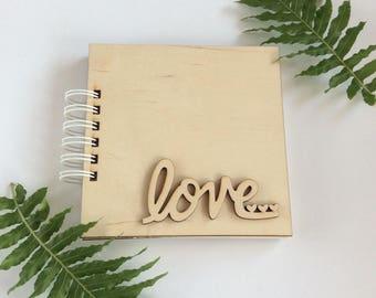 Wooden cover album / scrapbook blank album / spiral binding notebook / diy journal / wedding guest book / baby shower gift